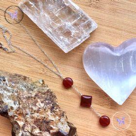 Carnelian Coin & Diamond Lariat Necklace